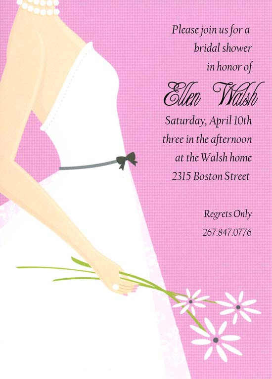 Pretty in Pink Bride Invitation