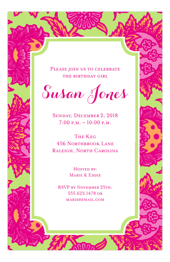 Pretty Pink and Orange Invitation