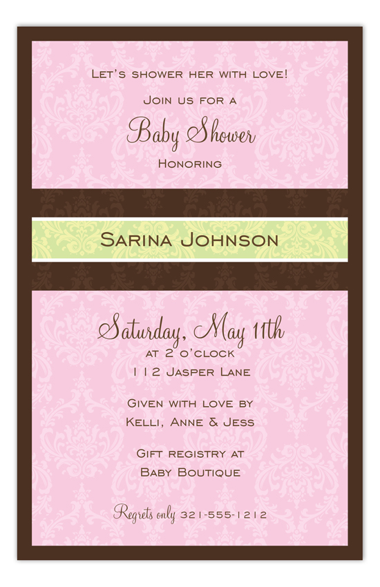 Pretty Pink Damask Invitation