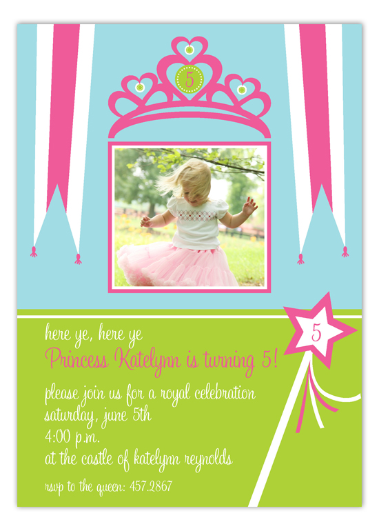 Pretty Princess Crown Photo Invitation