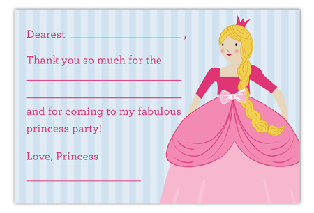 Princess Party Blonde Flat Note Card