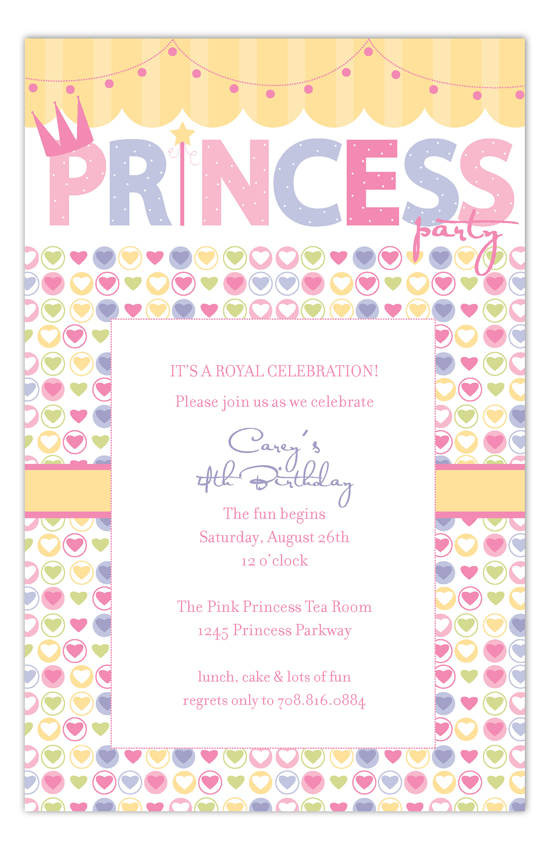 Hearts and Swag Princess Party Invitations