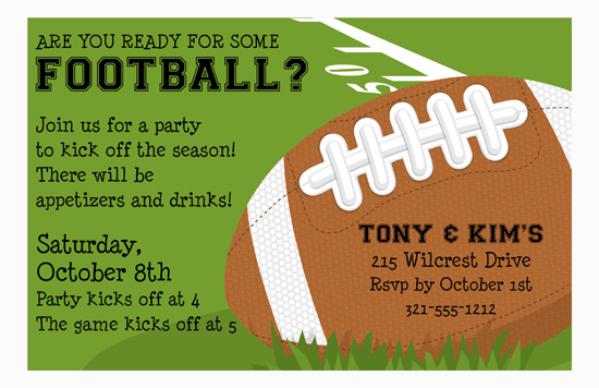Football Fun Football Party Invitation