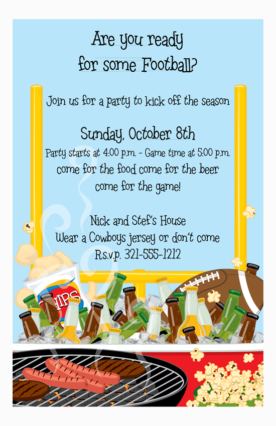 Football Beer and BBQ Party Invitation
