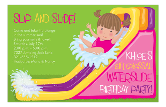 waterslide girl pool party invitation