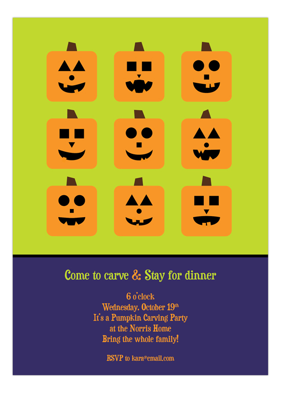 Pumpkin Faces Invitation