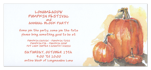 Pumpkin Festival Fall Party Invitations