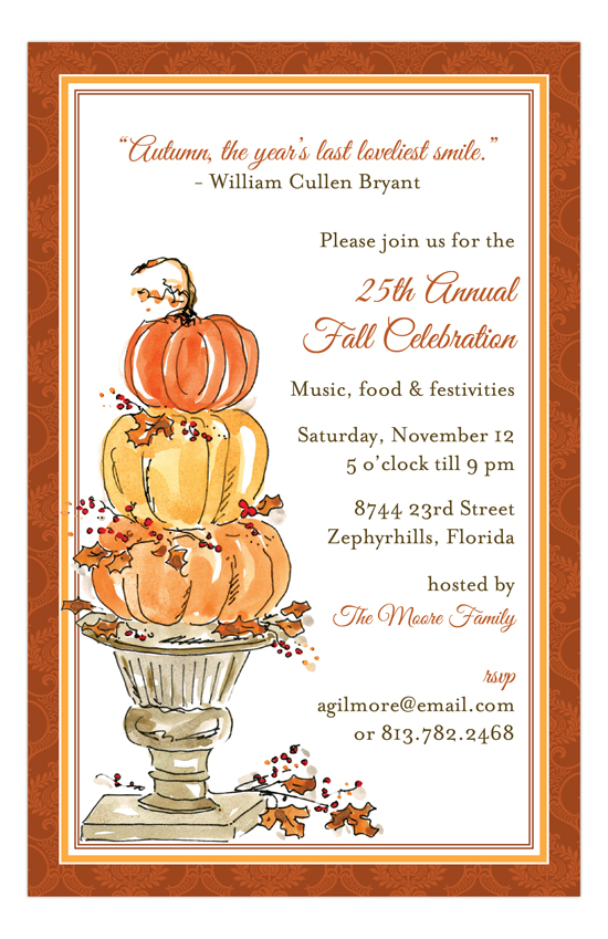 Pumpkin Topiary Invitation fall party invitations