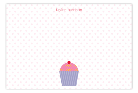 Purple Cupcake Delight Flat Note Card