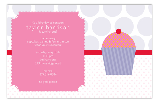 Purple Cupcake Delight Invitation