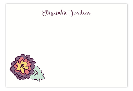 Purple Floral Flat Note Card