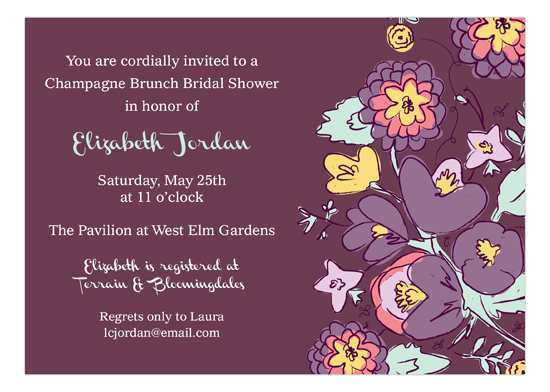 Purple Floral Bridal Shower Invites