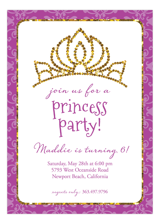 Purple Glitter Princess Invitation