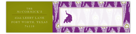 Purple Peacock Envelope Wrap Address Label