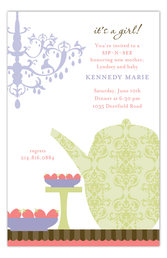 Purple Sip and See Tea Invitation