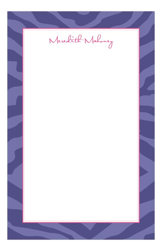 Purple Zebra Stripes Notepad