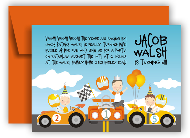 Jacob Wash is Turning 5 Racecars Invitation
