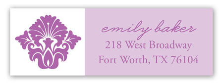 Radiant Orchid Damask Print Address Label