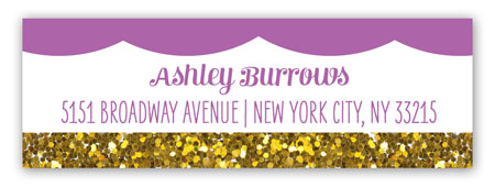 Radiant Orchid Glitter Cupcake Birthday Address Label