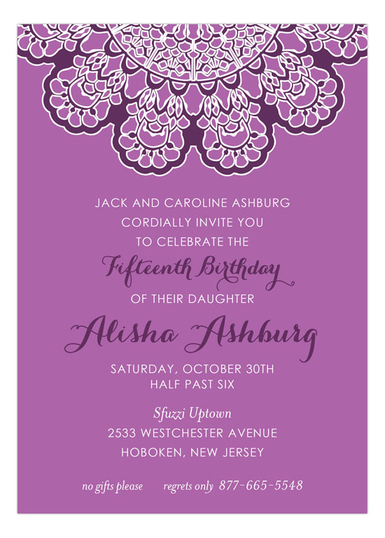 Radiant Orchid Lace Invitation