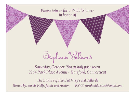Radiant Orchid Pennant Banner Invitation