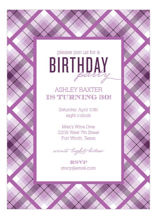 radiant orchid plaid invitation 30 birthday invitations
