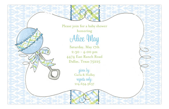 Rattle Me Baby Blue Invitation