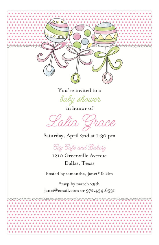 Rattles Baby Shower Invitation