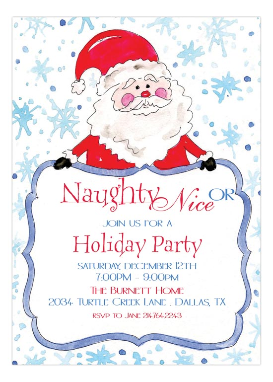 Naughty or Nice Santa Invitation
