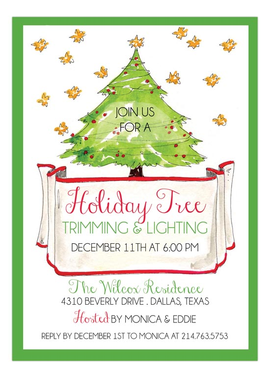 Green Tree Holiday Invite