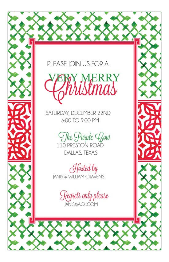 Green Squares Party Invite