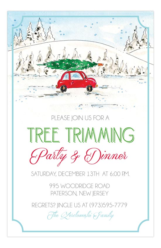 Car with Tree Winter Party Invitation