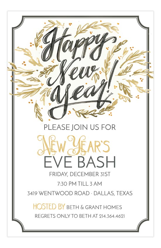 Handpainted Happy New Year Invitation