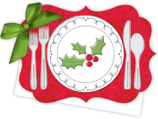 Holiday Place Setting Die-Cut Tie-Up Invitation