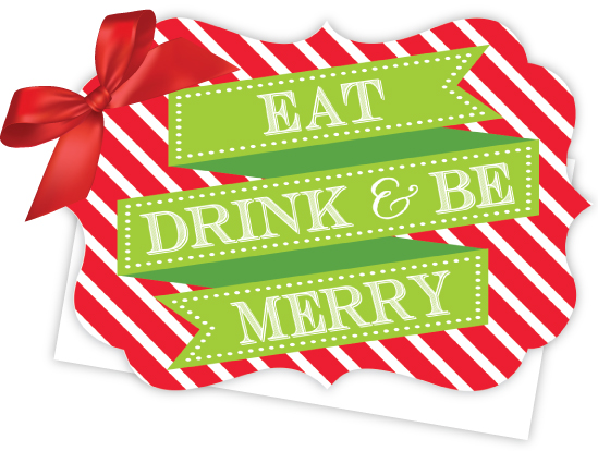 eat drink and be merry die cut tie up invitation polka