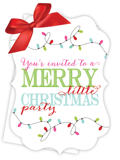 merry little christmas party die cut tie up invitation