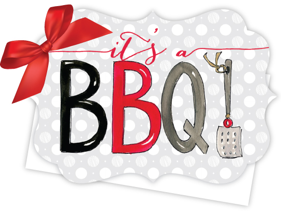 Its a BBQ Die-Cut Tie-Up Invitation