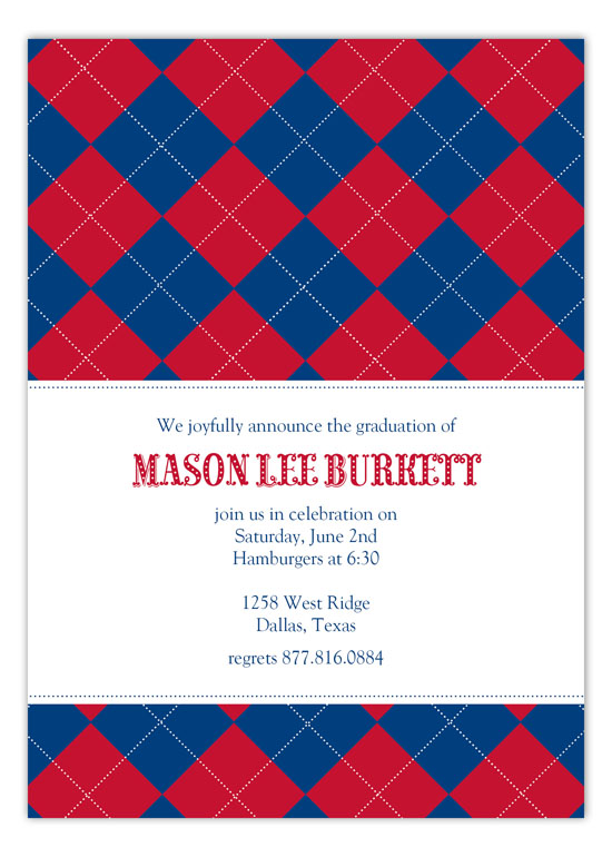 Red and Blue Argyle Invitation