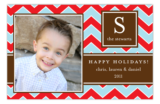Red and Blue Chevron Photo Card