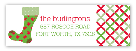 Red and Green Fun Stockings Address Label