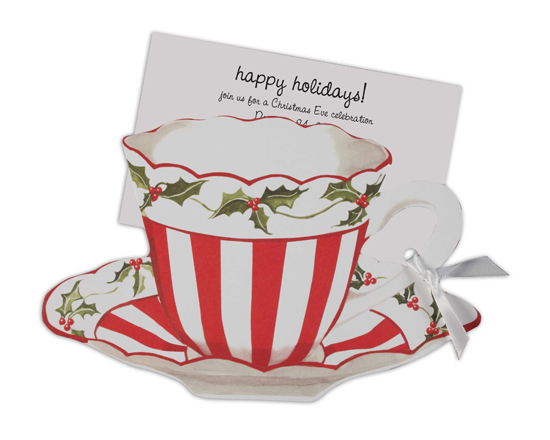 Red And White Christmas Tea Invitation