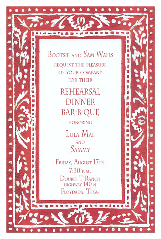 red border invitation western rehearsal dinner invites
