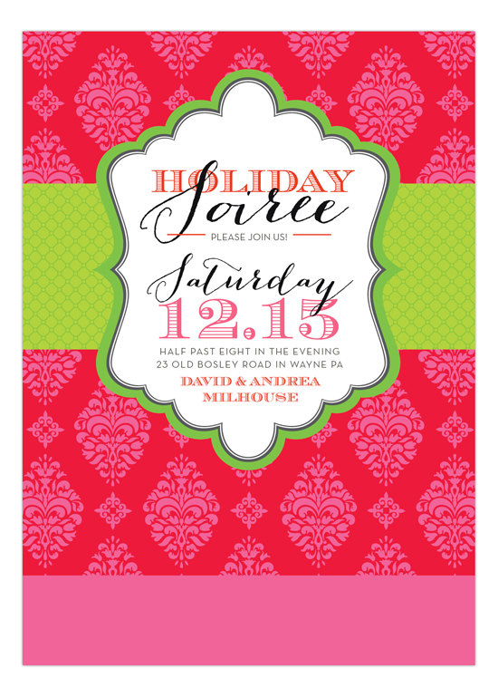 Red Brocade Soiree Invitation