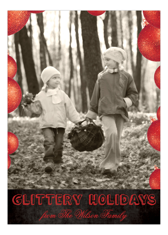 Red Glittery Holidays Photo Card