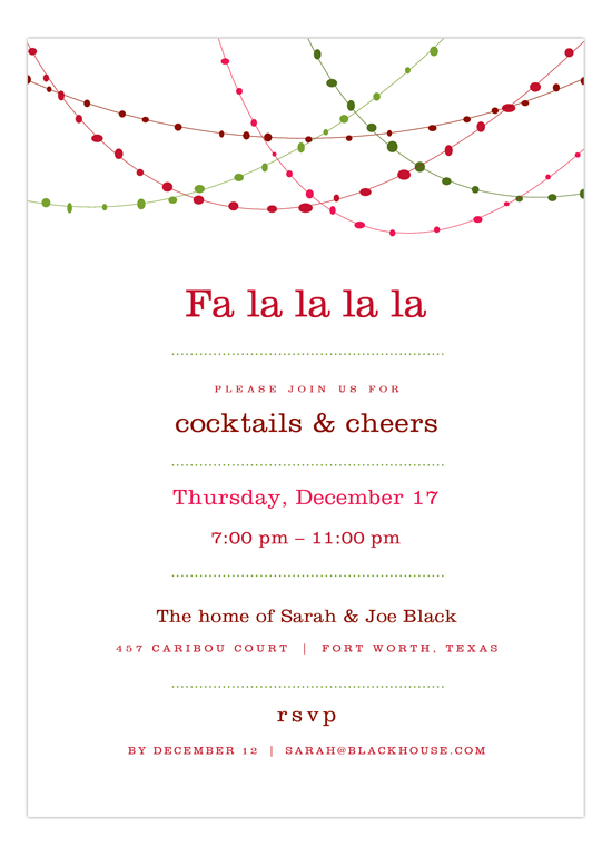 Red Holiday Swag Christmas Party Invitations