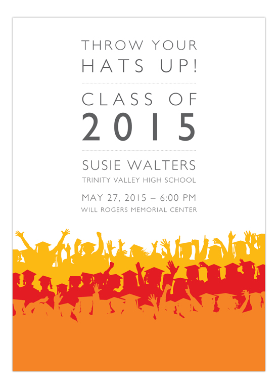Red Hot Throw Your Hats Up Invitation