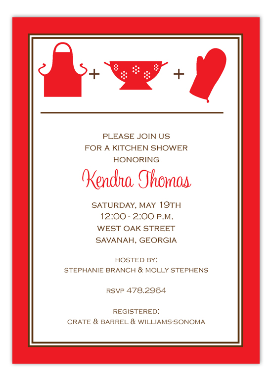 Red Kitchen Silhouettes Invitation
