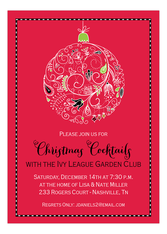 Red Lace Ornament Invitation