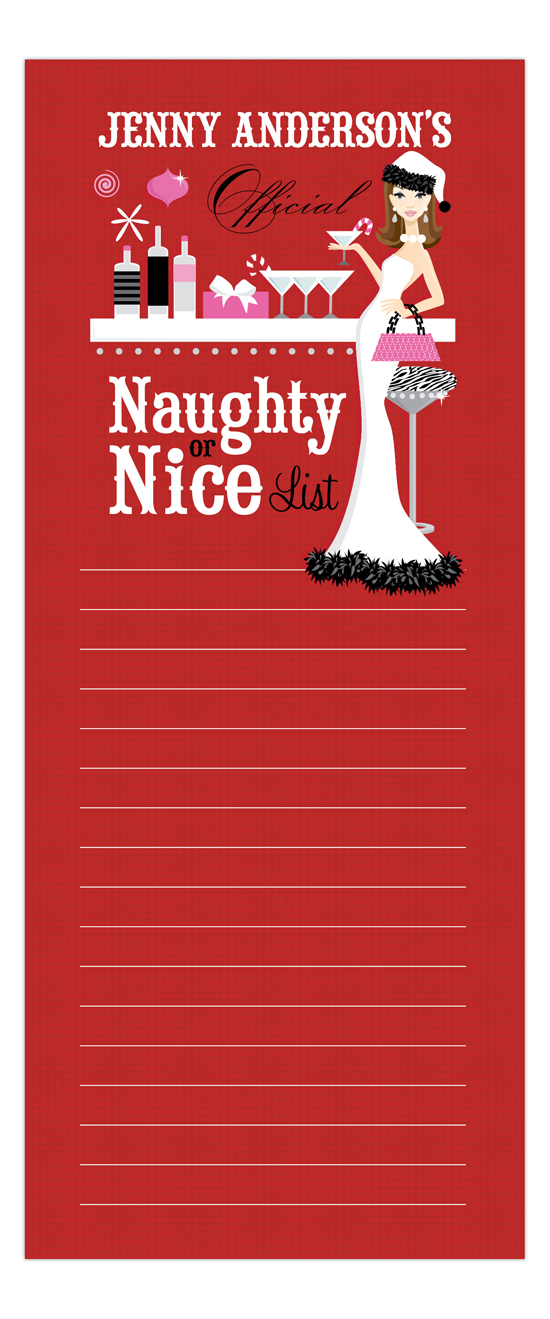 Red Naughty or Nice Brunette Notepad