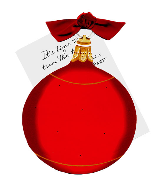 Red Ornament die-cut card Invitation